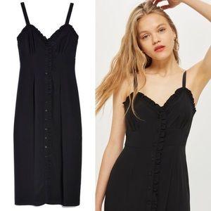 Topshop Ruffle Button-Down Slip Dress
